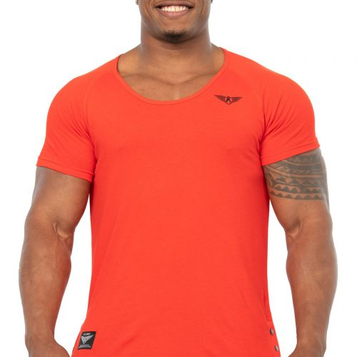 CORON SLICED WIDE NECK T-SHIRT RED